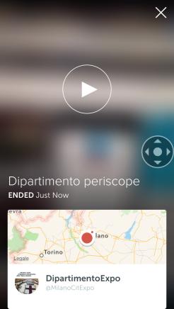 Video demo creato dall'account su periscope del Dipartimento