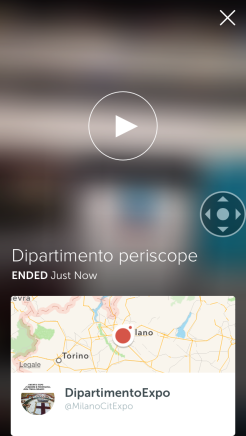 Video demo creato dall'account su periscope del Dipartimento